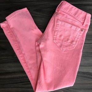 Lilly Pulitzer worth skinny mini zip pink jeans 0